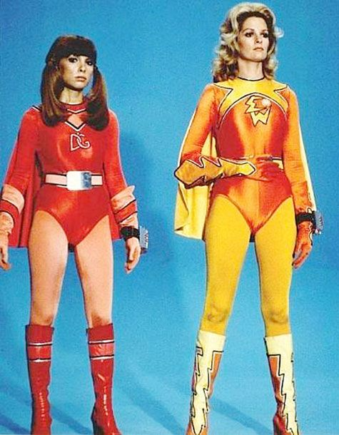 Judy Strangis and Deidre Hall in <i>Electra Woman and Dyna Girl</i>, 1976