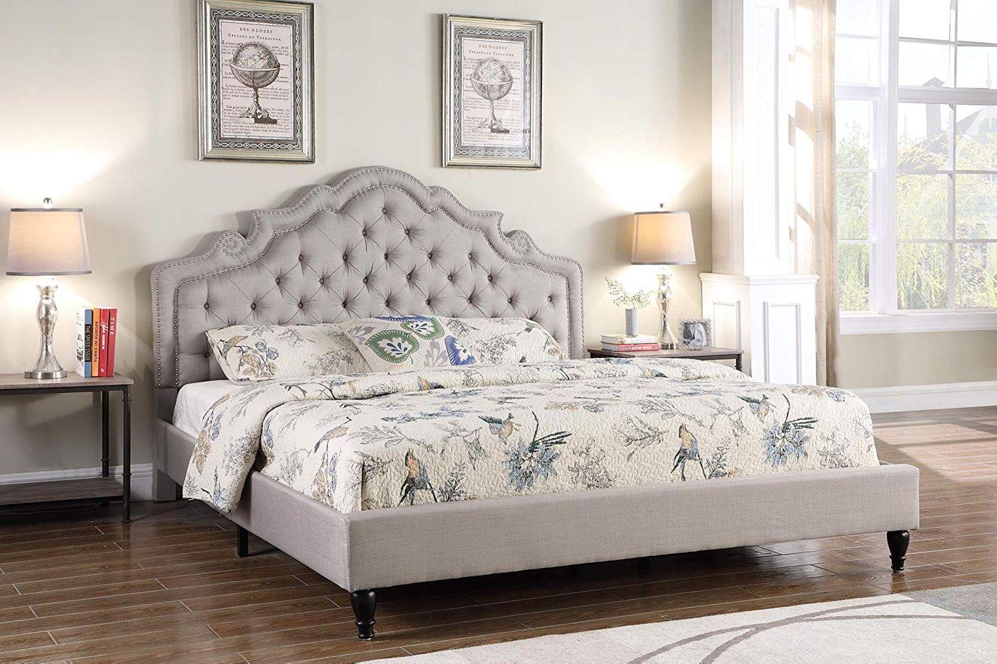 LIFE Home Platform Bed, Queen, Light Grey