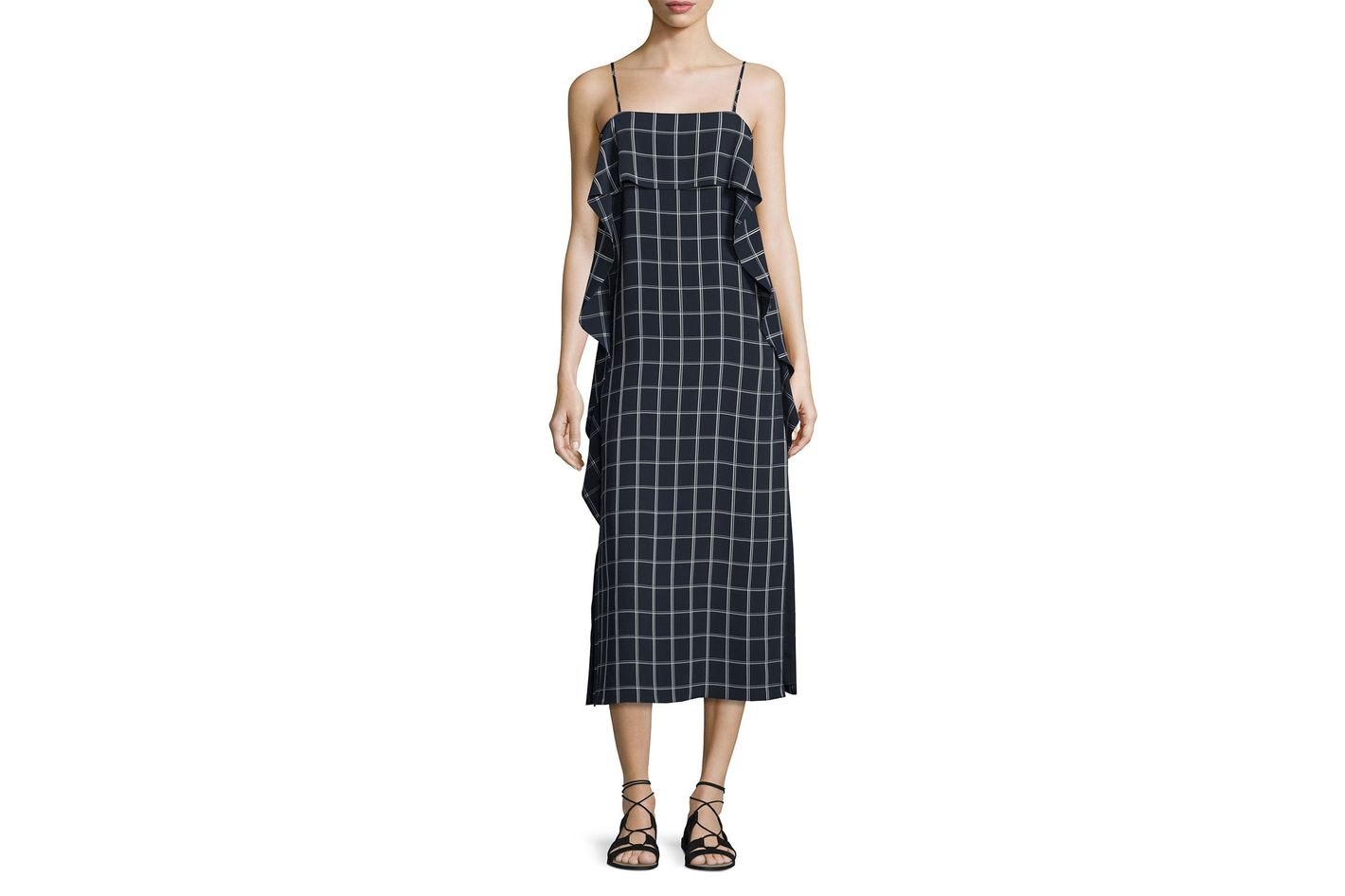 Elizabeth and James Marlee Sleeveless Ruffle-Trim Check Shift Dress