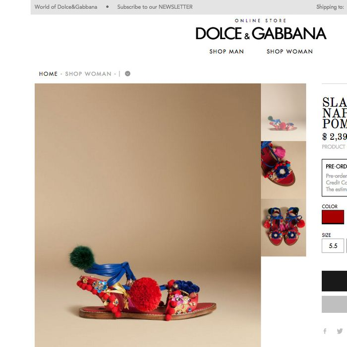 Screenshot from store.dolcegabbana.com
