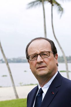 French President Francois Hollande poses on July 17, 2014 at the French ambassador's residency in Abidjian at the start of his vist to Ivory Coast. Hollande is in Ivory Coast to boost economic ties with a nation emerging from a long conflict that divided it and set back production. France is the main trading partner of its former colony, the world's leading cocoa producer and long the economic hub of the west African region. The country still hosts hundreds of French companies.AFP PHOTO / ALAIN JOCARD        (Photo credit should read ALAIN JOCARD/AFP/Getty Images)
