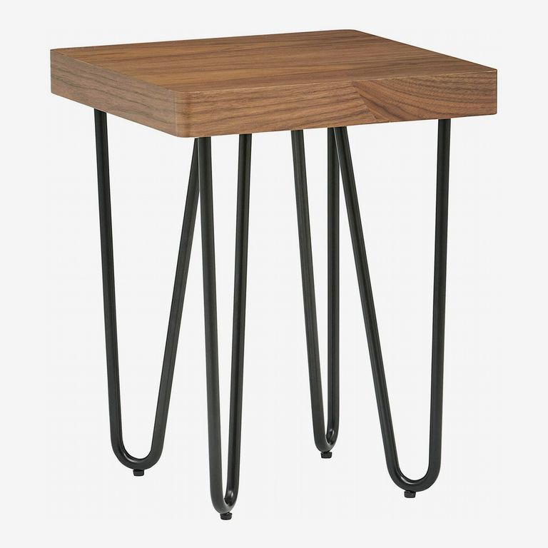 Rivet Hairpin Wood-and-Metal Side End Table