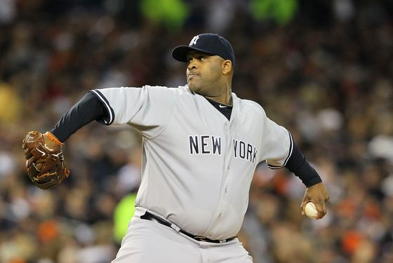 DETROIT - OCTOBER 03:  C.C. Sabathia #52 of the New York Yankee pitches in the sixth inning during the game against the Detroit Tigers during Game Three of the American League Division Series at Comerica Park on October 3, 2011 in Detroit, Michigan.  (Photo by Leon Halip/Getty Images)