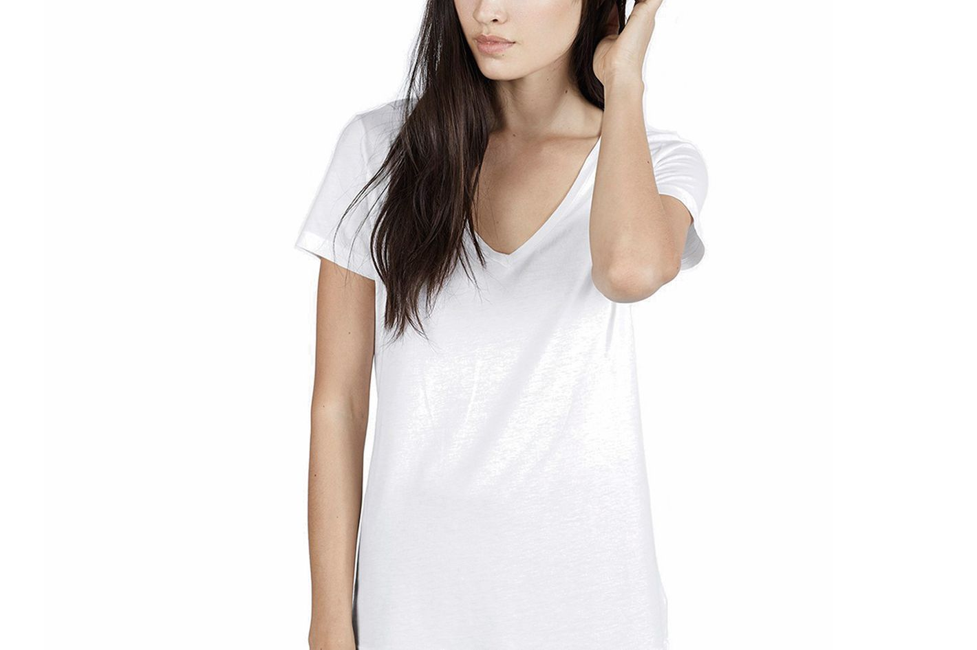 f5fe3783d2cdb2 Best white T-shirt to wear with a necklace. Everlane Cotton V-Neck