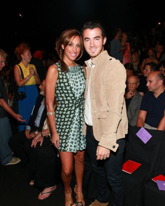 Kevin Jonas and wife Danielle at Anna Sui's Spring 2012 Collection show