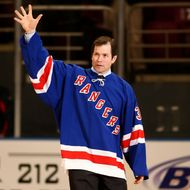 NEW YORK - FEBRUARY 03: Former New York Rangers player Mike Richter walks onto the ice during a ceremony retiring Adam Graves' jersey prior to a game between the New York Rangers and the Atlanta Thrashers on February 03, 2008 at Madison Square Garden in New York City. (Photo by Chris McGrath/Getty Images)