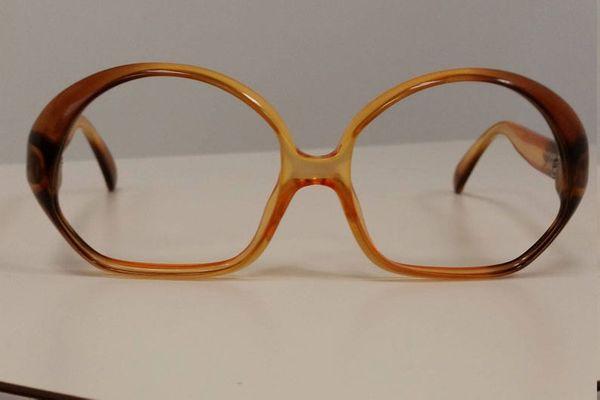 Etsy 1970s Optyl Eyeglasses Frame; Amber Brown w/ Geometric Shape