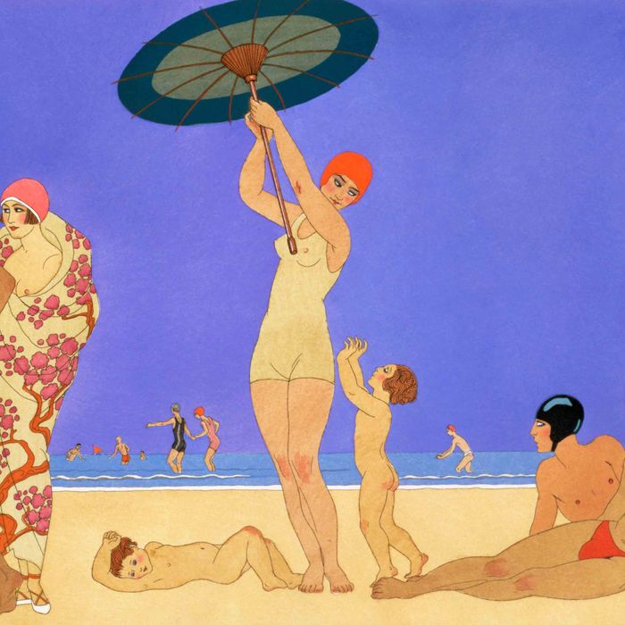 A 1920s-era graphic art-print scene of people at the beach — the Strategist reviews summertime tips for preventing thigh chafing.