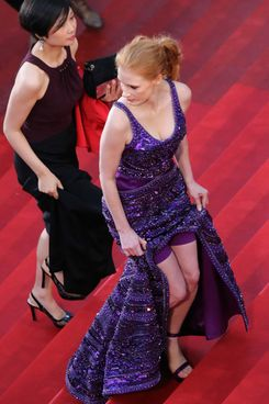 "US actress Jessica Chastain arrives on May 22, 2013 for the screening of the film ""All is Lost"" presented Out of Competition at the 66th edition of the Cannes Film Festival in Cannes. Cannes, one of the world's top film festivals, opened on May 15 and will climax on May 26 with awards selected by a jury headed this year by Hollywood legend Steven Spielberg."