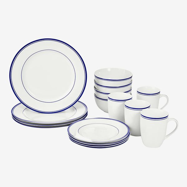 AmazonBasics 16-Piece Cafe Stripe Kitchen Dinnerware Set for 4, Blue