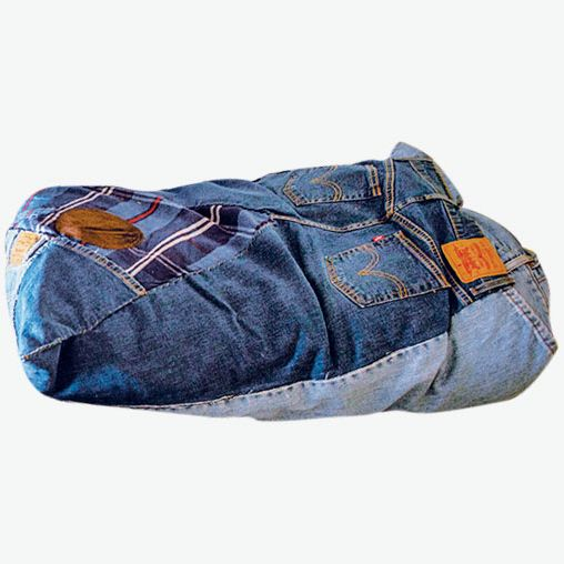Thank You Have a Good Day Patchwork Denim Floor Cushions