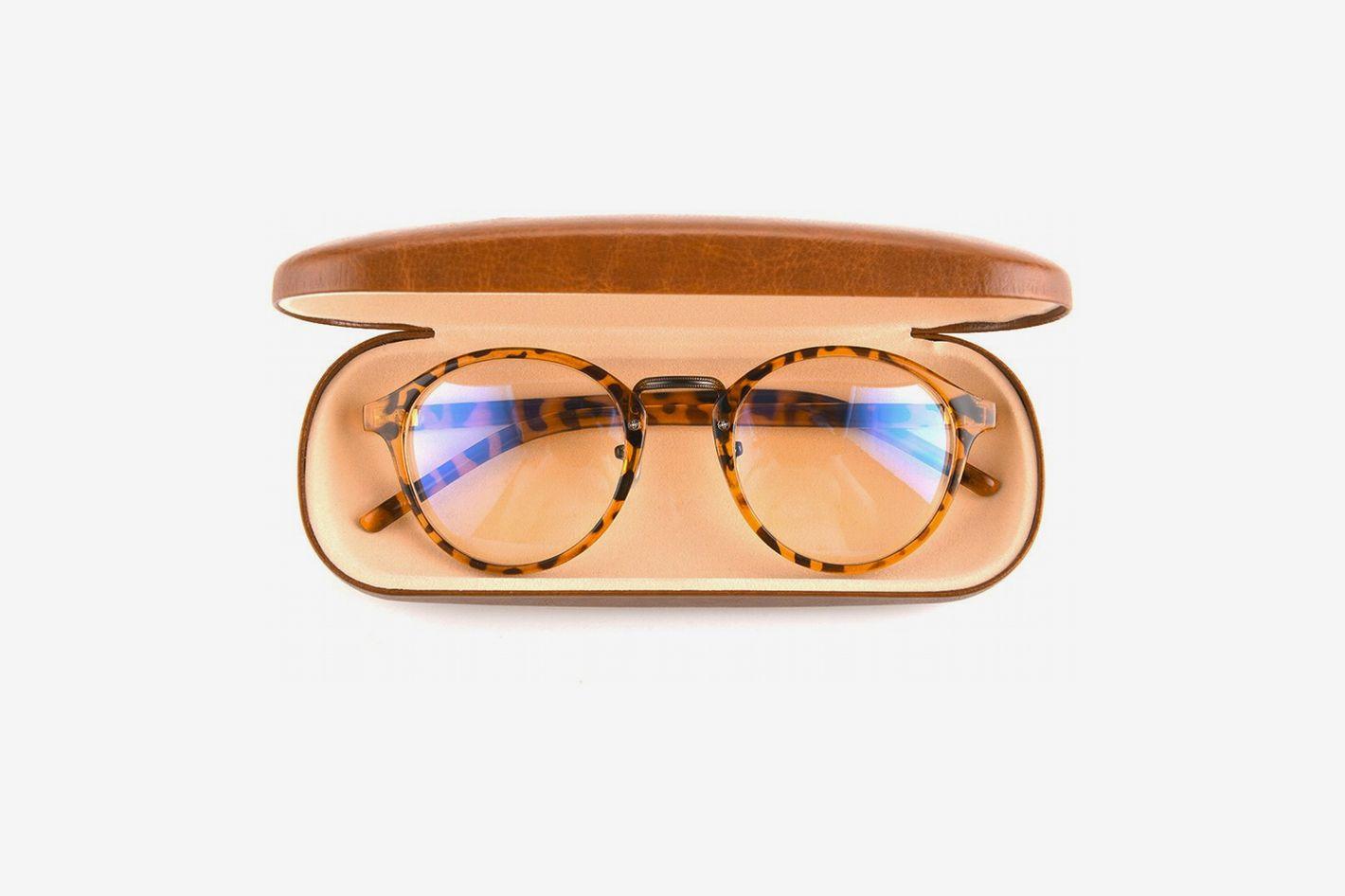 Gudzws Anti Blue Light Glasses Retro Round Unisex