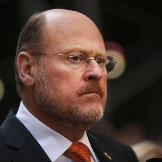 Republican New York City mayoral candidate Joe Lhota marches in the 69th Annual Columbus Day Parade on October 14, 2013 in New York City. With dozens of floats, marching bands and politicians on hand, the annual celebration of Italian American culture and heritage draws large crowds along 5th Avenue.