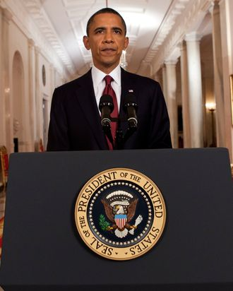 WASHINGTON, DC - MAY 1: (AFP OUT) U.S. President Barack Obama stands after addressing the nation on TV from the East Room of the White House to make a televised statement May 1, 2011 in Washington, DC. Bin Laden has been killed near Islamabad, Pakistan almost a decade after the terrorist attacks of Sept. 11, 2001 and his body is in possession of the United States. (Photo by Brendan Smialowski-Pool/Getty Images) *** Local Caption *** Barack Obama;