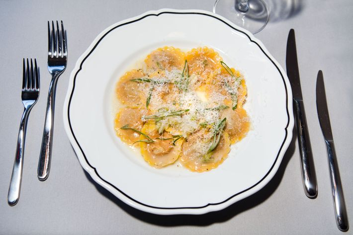 La Sirena's ravioli all'Amatriciana with spring-onion butter.