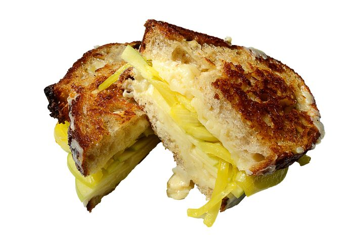Grilled cheese with housemade bread-and-butter pickles on Roberta's sourdough.