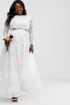 ASOS EDITION Curve Grace Lace Crop Top Wedding Dress