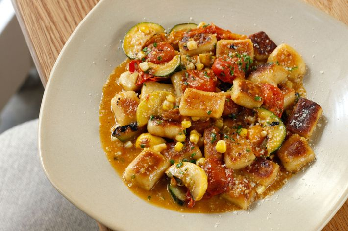 Gnocchi with summer vegetables.