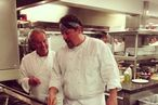 Wolfgang Puck Trains Jon Favreau on the Sauté Station
