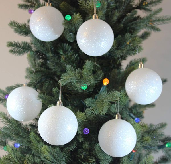 Festive Season 12-pack 80mm White Snowball Christmas Tree Ball Ornaments