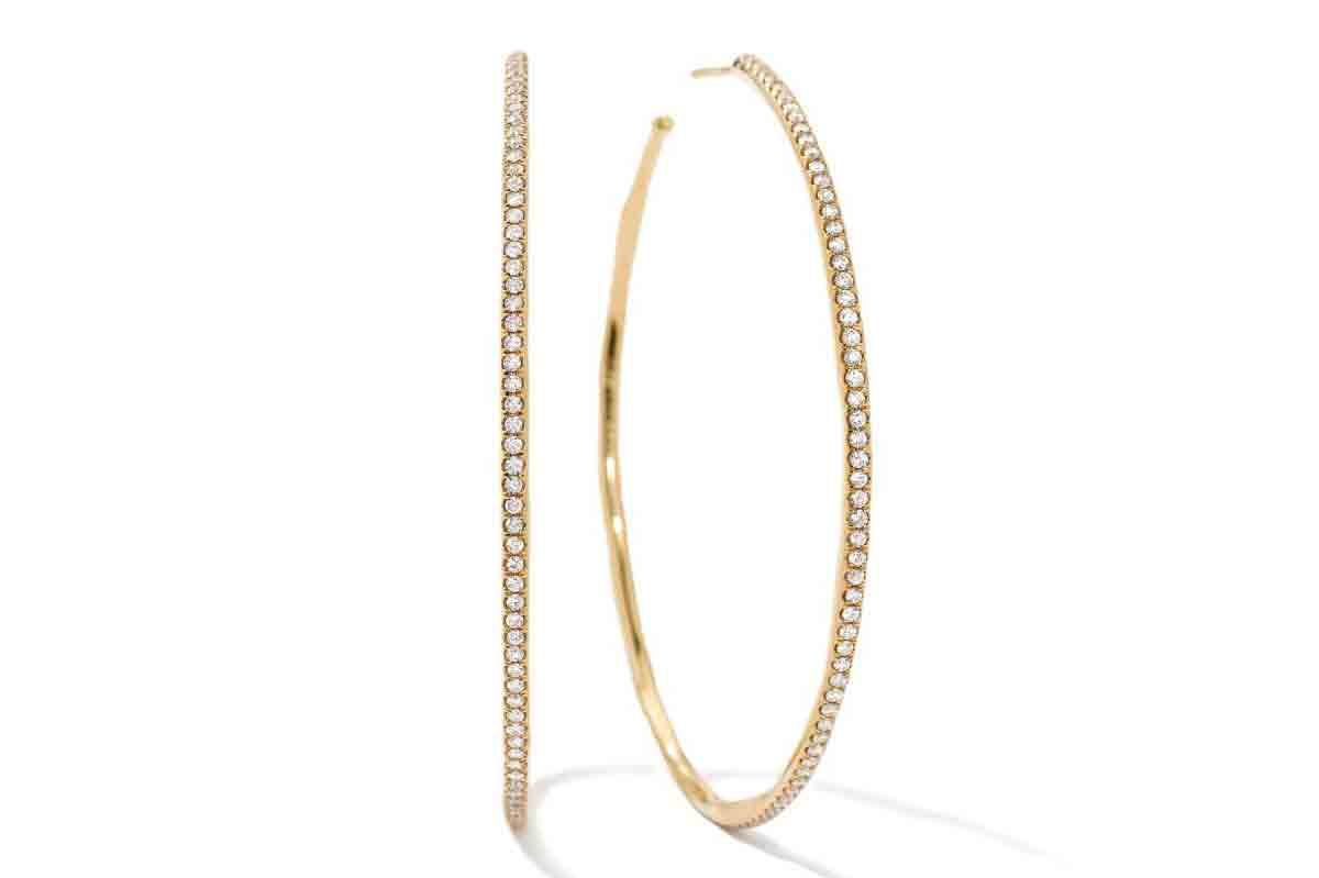 Ippolita Extra Large Hoop Earrings in 18K Gold with Diamonds