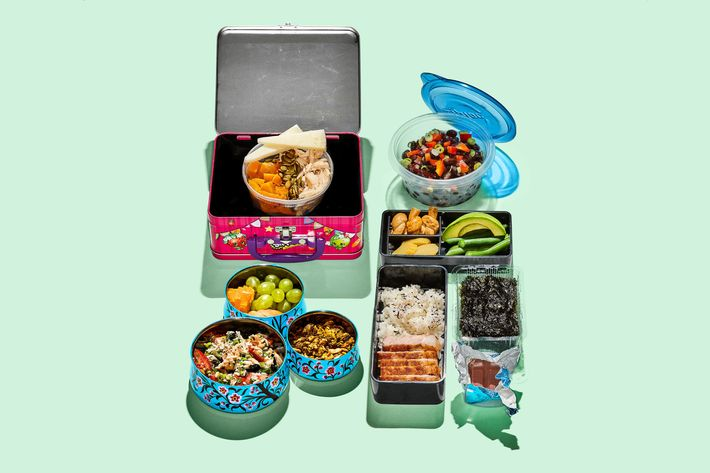 A series of lunches brought in storage containers for a post about the Strategist reviewing desk lunch gear