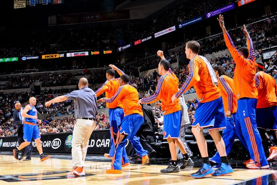 Jason Kidd #5 of the New York Knicks celebrates with teammates on the bench while playing in the fourth quarter against the San Antonio Spurs on November 15, 2012 at the AT&T Center in San Antonio, Texas.