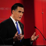 Republican presidential hopefuls Mitt Romney takes part in The Republican Presidential Debate at University of  South Florida in Tampa, Florida, January 23, 2012. Florida will hold its Republican primary on January 31, 2012.  AFP PHOTO/Emmanuel Dunand (Photo credit should read EMMANUEL DUNAND/AFP/Getty Images)