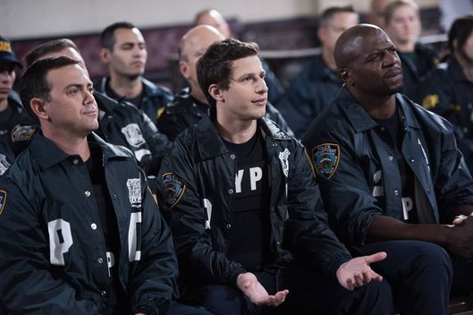 "BROOKLYN NINE-NINE: The squad is invited to a Homeland Security terrorist training simulation in the ""Hostages"" episode of BROOKLYN NINE-NINE airing Sunday, Feb. 8 (8:30-9:00 PM ET/PT) on FOX. Pictured L-R: Joe Lo Truglio, Andy Samberg and Terry Crews. ?2014 Fox Broadcasting Co. CR: Eddy Chen/FOX"