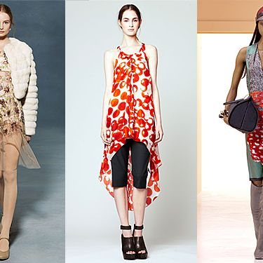 From left: new resort looks from the Row, Vera Wang, and Balenciaga.