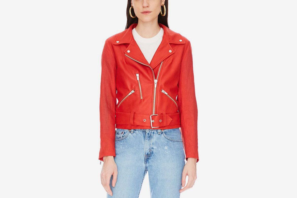 Cal Leather Linen Sleeves Jacket