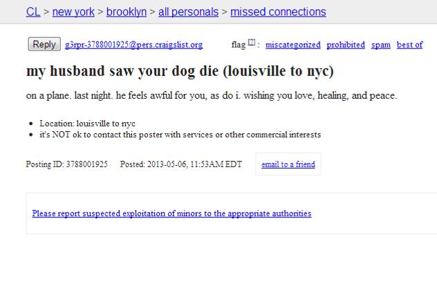 Super Sad Dead Dog Missed Connection Misunderstands the Medium