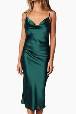 xxxiticat Women's Spaghetti Strap Satin Party Dress