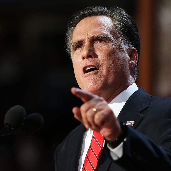 TAMPA, FL - AUGUST 30: Republican presidential candidate, former Massachusetts Gov. Mitt Romney delivers his nomination acceptance speech during the final day of the Republican National Convention at the Tampa Bay Times Forum on August 30, 2012 in Tampa, Florida. Former Massachusetts Gov. Mitt Romney was nominated as the Republican presidential candidate during the RNC which will conclude today. (Photo by Spencer Platt/Getty Images)