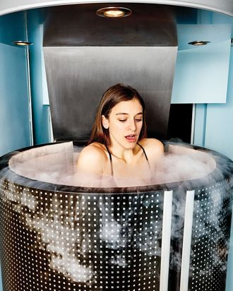 Another client gets blasted in the cryo-sauna.