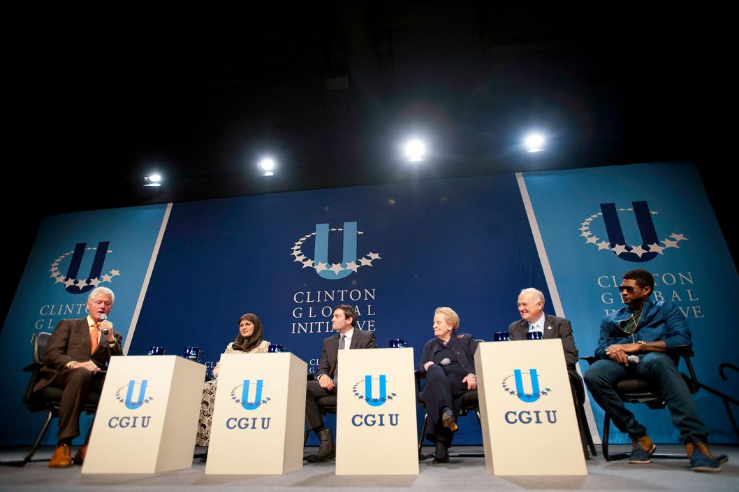 Bill Clinton, Sadiqa Basiri Saleem, Rye Barcott, Madeline Albright, Steven Knapp and Usher attend the 5th annual 2012 Clinton Global Initiative University meeting at George Washington University on March 30, 2012 in Washington, DC.
