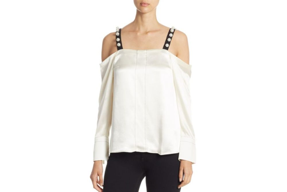 3.1 Phillip Lim Pearl-Strap Satin Cold-Shoulder Top