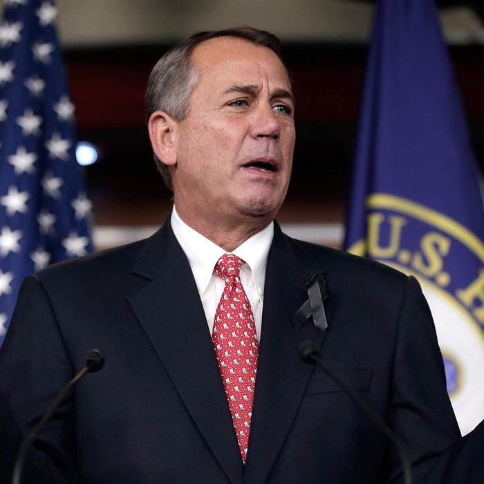 WASHINGTON, DC - DECEMBER 12: U.S. Speaker of the House John Boehner (R-OH) answers questions during a press conference December 12, 2013 in Washington, DC. When asked during the press conference if he would press ultra-conservative groups to tone down their criticism of a pending budget deal, Boehner said