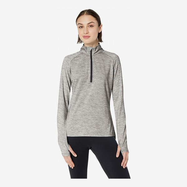 Amazon Brand Core 10 Women's Soft Tech Workout Half-Zip Long Sleeve Top in Medium Heather Grey