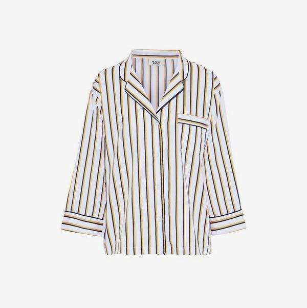 Marina Striped Cotton-Poplin Pajama Top - strategist best marina white with stripes pajama top