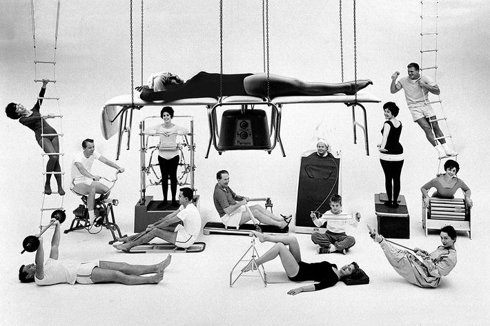1960s ad in black and white featuring new exercise equipment - strategist best fitness gear and best big ticket gym equipment