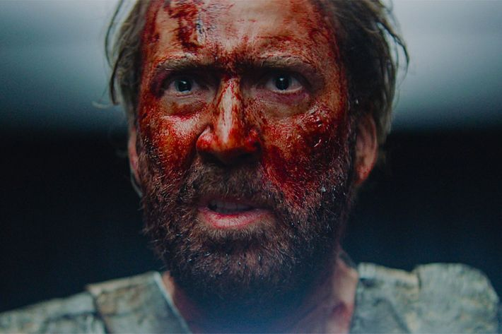 Nicolas Cage in Mandy Screaming Cocaine and Battle Axes