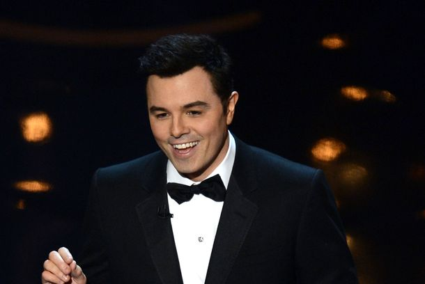 Host Seth MacFarlane speaks onstage during the Oscars held at the Dolby Theatre on