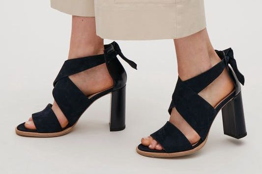 COS Tie-Back Suede Sandals in Indigo