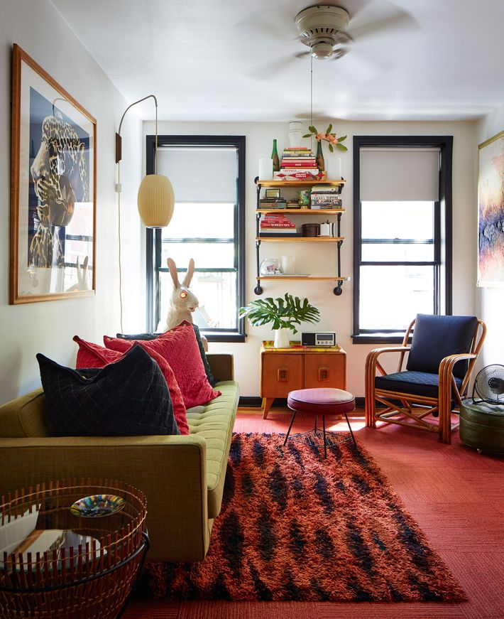 Tour a vintage inspired apartment over a beauty parlor