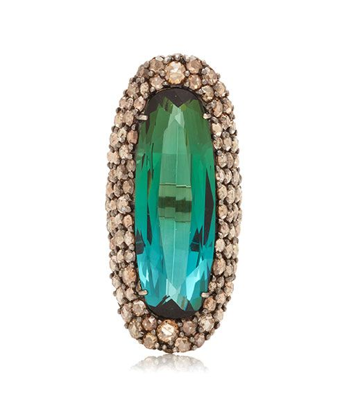 Sidney Garber Buckler 18K White Gold And Green Tourmaline Ring