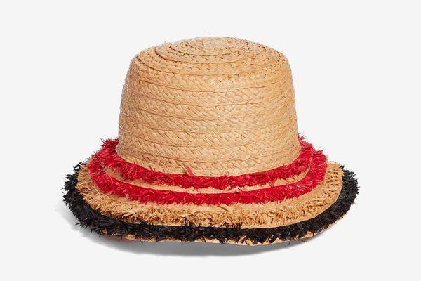 Halogen Fringe Raffia Bucket Hat