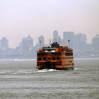 NEW YORK - MAY 08: A Staten Island Ferry heads towards Manhattan.