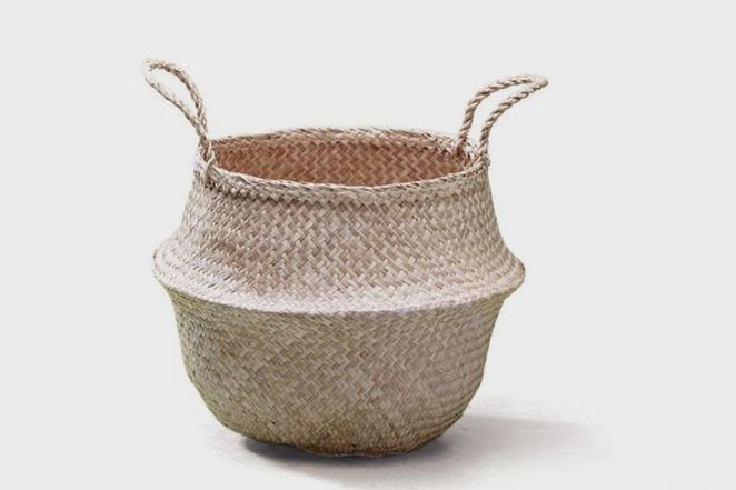 Sosibon Large Seagrass Belly Basket With Handles (Natural)