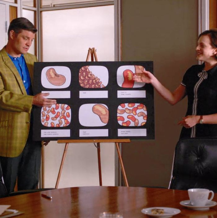Stan and Peggy pitching the bean ballet in Mad Men.